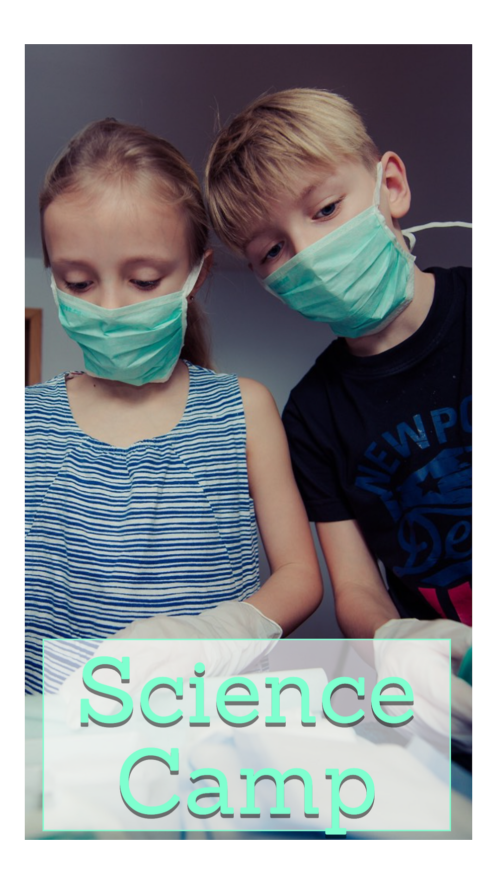 Social media story template for kids camp and science camp with two kids wearing face masks