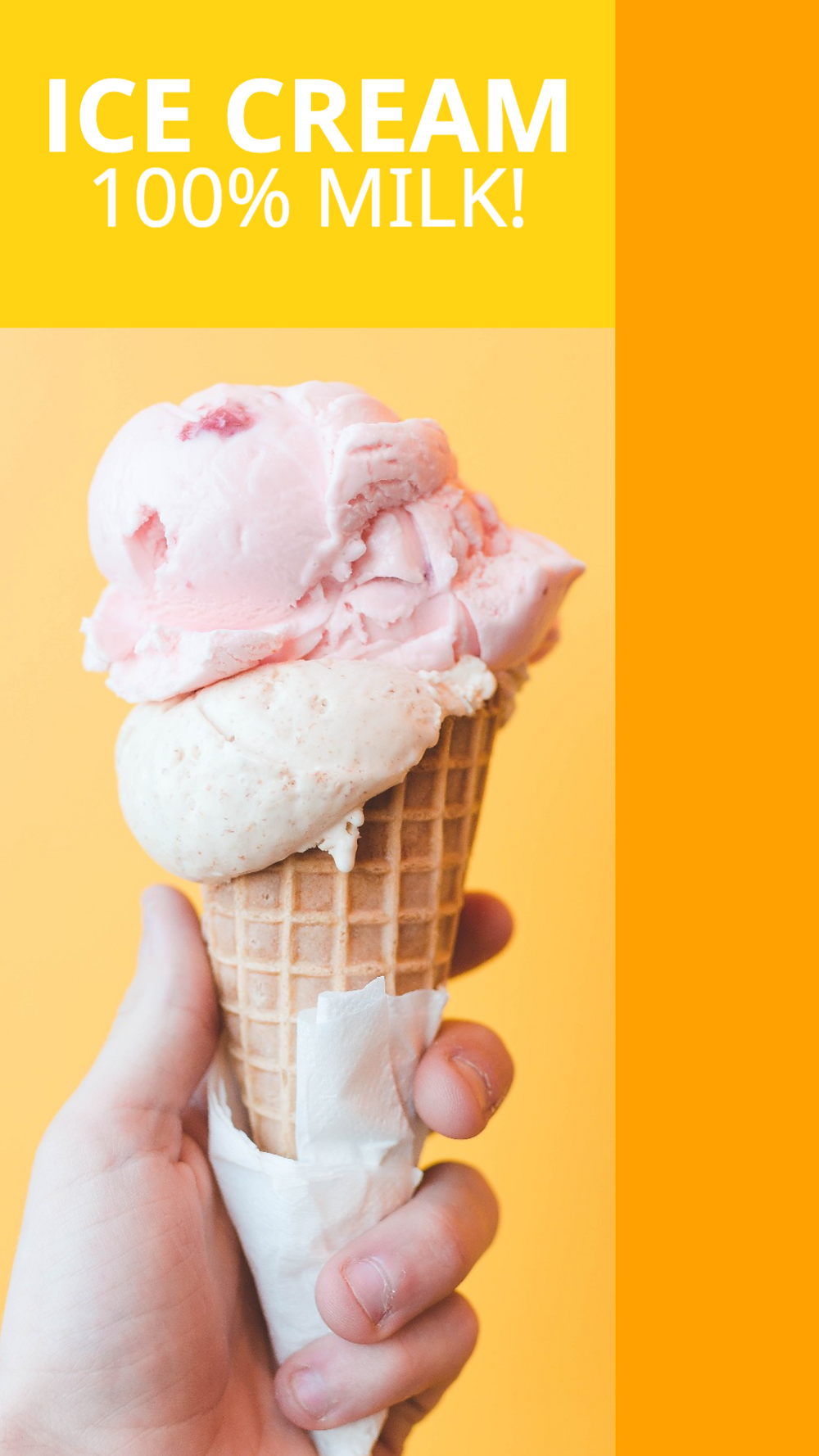 National Strawberry Icecream day Ice Cream social media story template with strawberry and vanilla ice cream in a waffle cone on a yellow and orange background