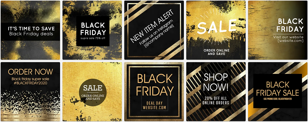Black and gold metallic Black Friday social media post template collection for Instagram and Facebook