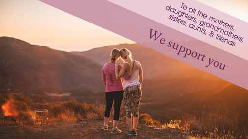 We support you social media post template landscape with mother and daughter on a hike for Breast Cancer Awareness Month