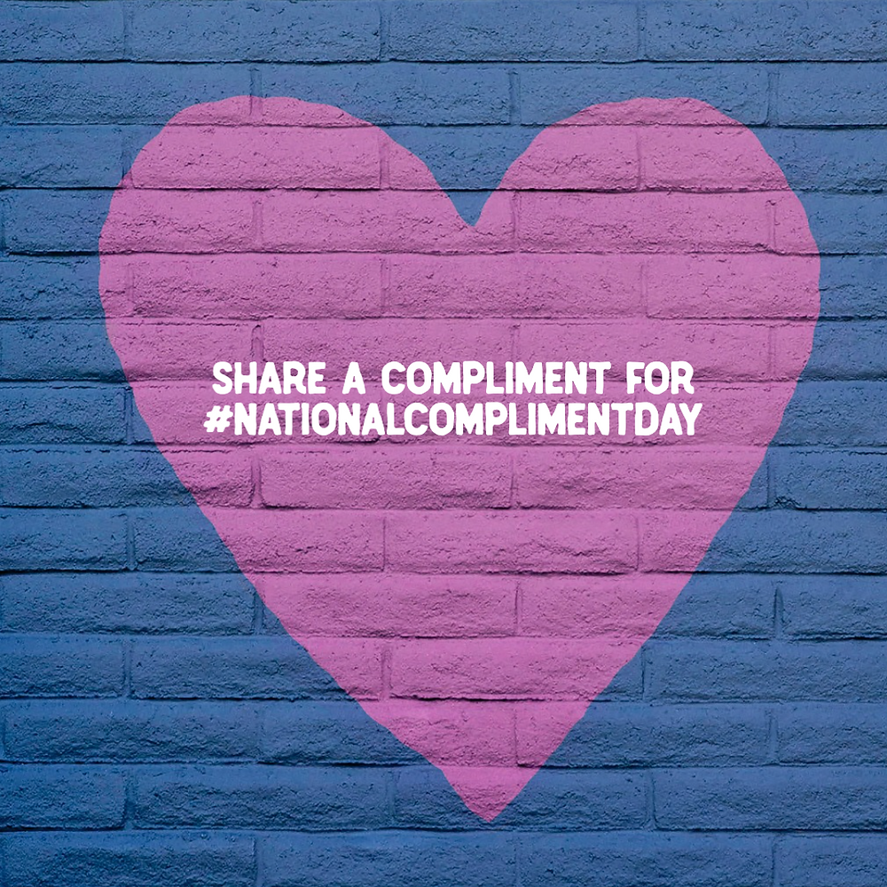 National Compliment Day purple heart on navy background social media post template