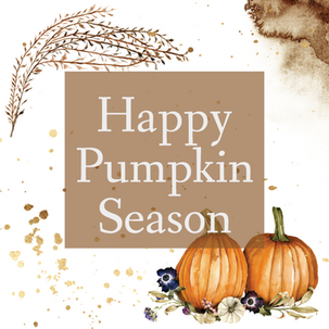 Happy Pumpkin Season template for social media with pumpkins and Fall leaves