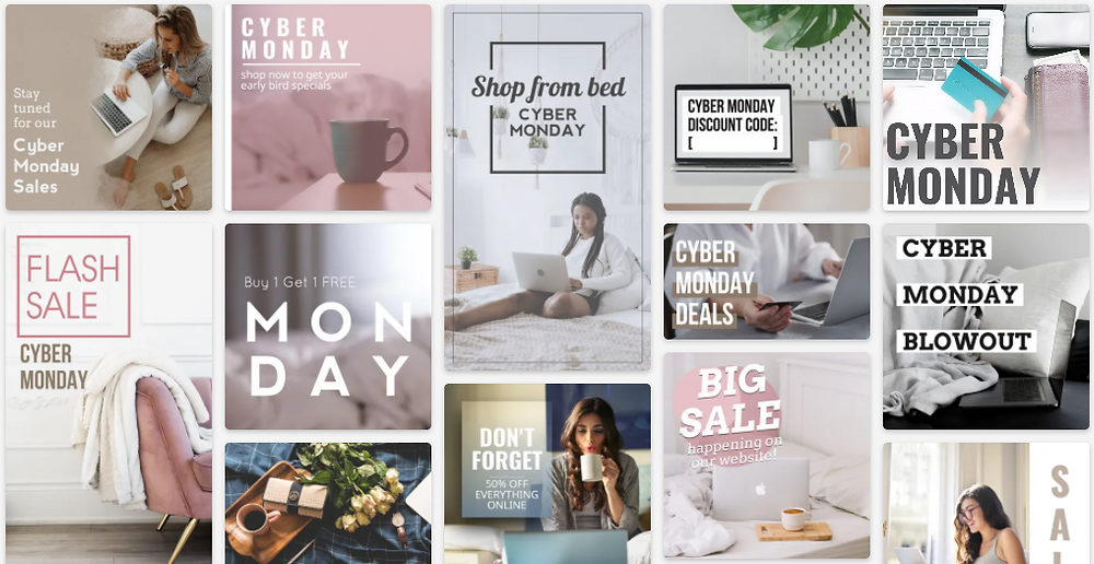 Cyber Monday sale social media post template collection with pink, gray, and neutral palette for Instagram and Facebook