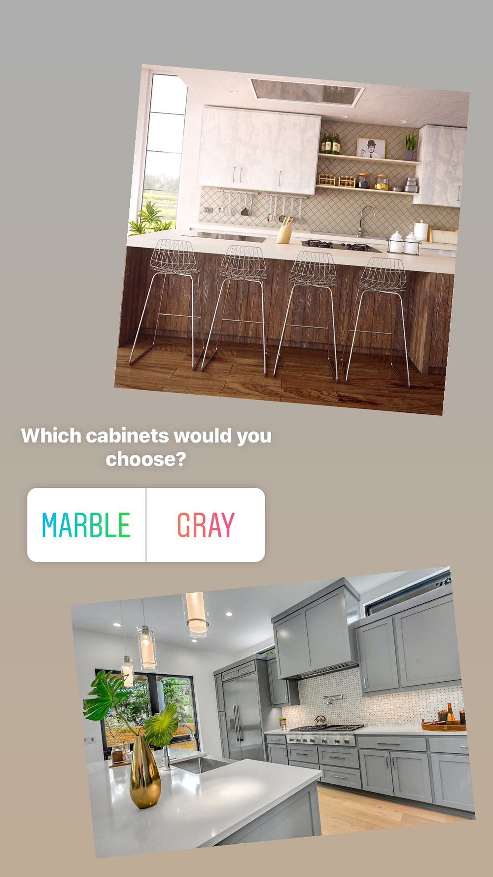 Instagram story poll example for real estate agents with a question about kitchen cabinets