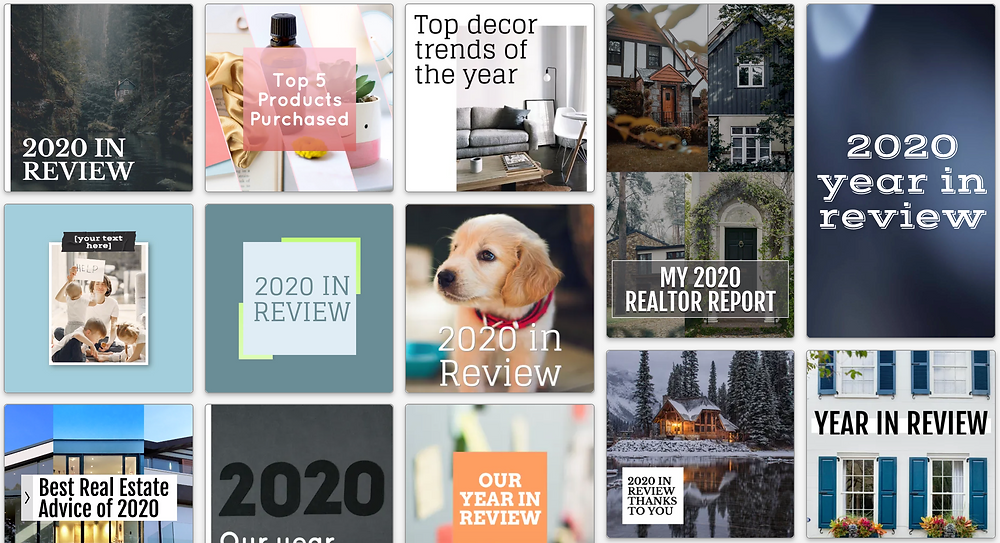 Year in review social media post templates for best of 2020 and past year trend posts on social media