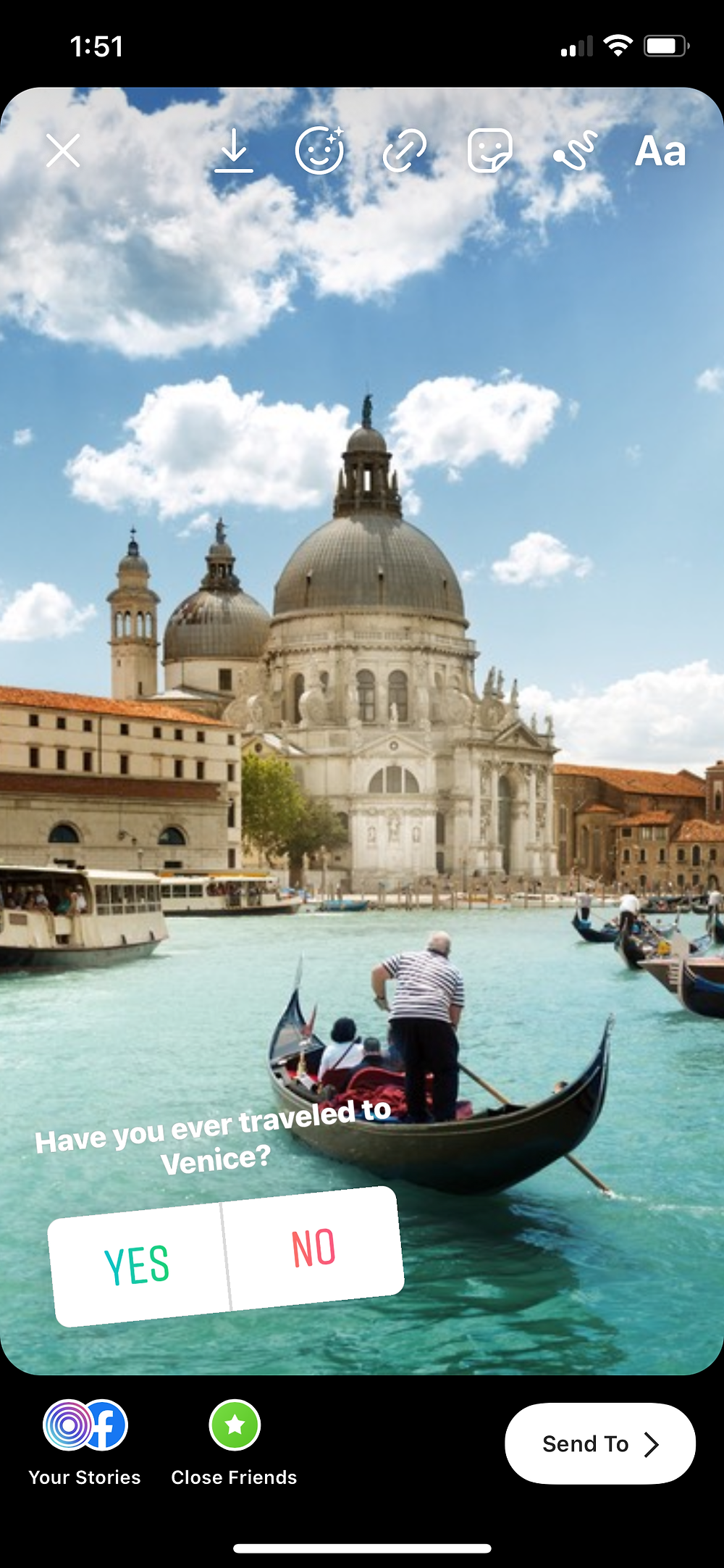 Example of a yes or no Instagram story poll with Venice