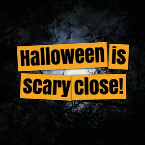 Halloween is scary close countdown post template for social media with haunted forest background