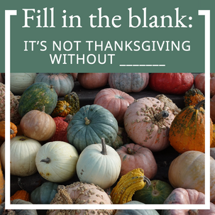 Fill in the blank Thanksgiving social media interactive post with colorful pumpkins and gourds