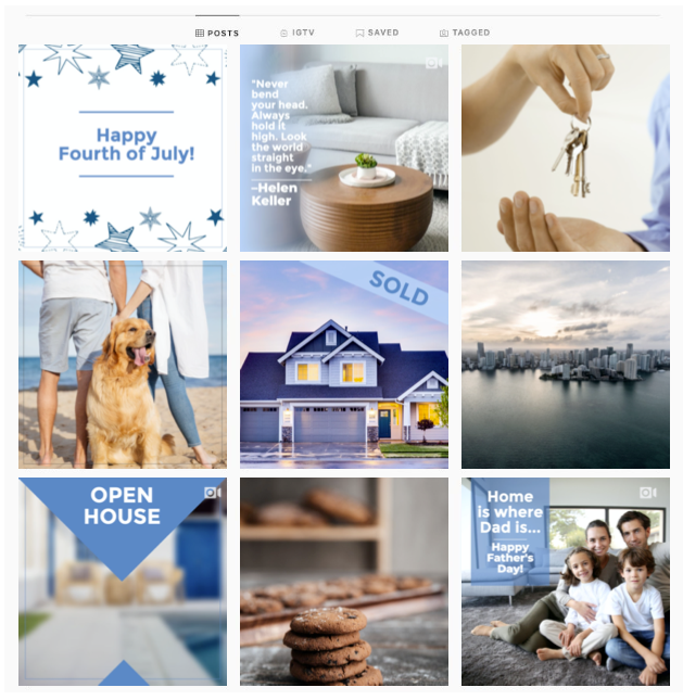 An example of a diversified Instagram page feed with a mix of post types and a color scheme for Real Estate and Home business types