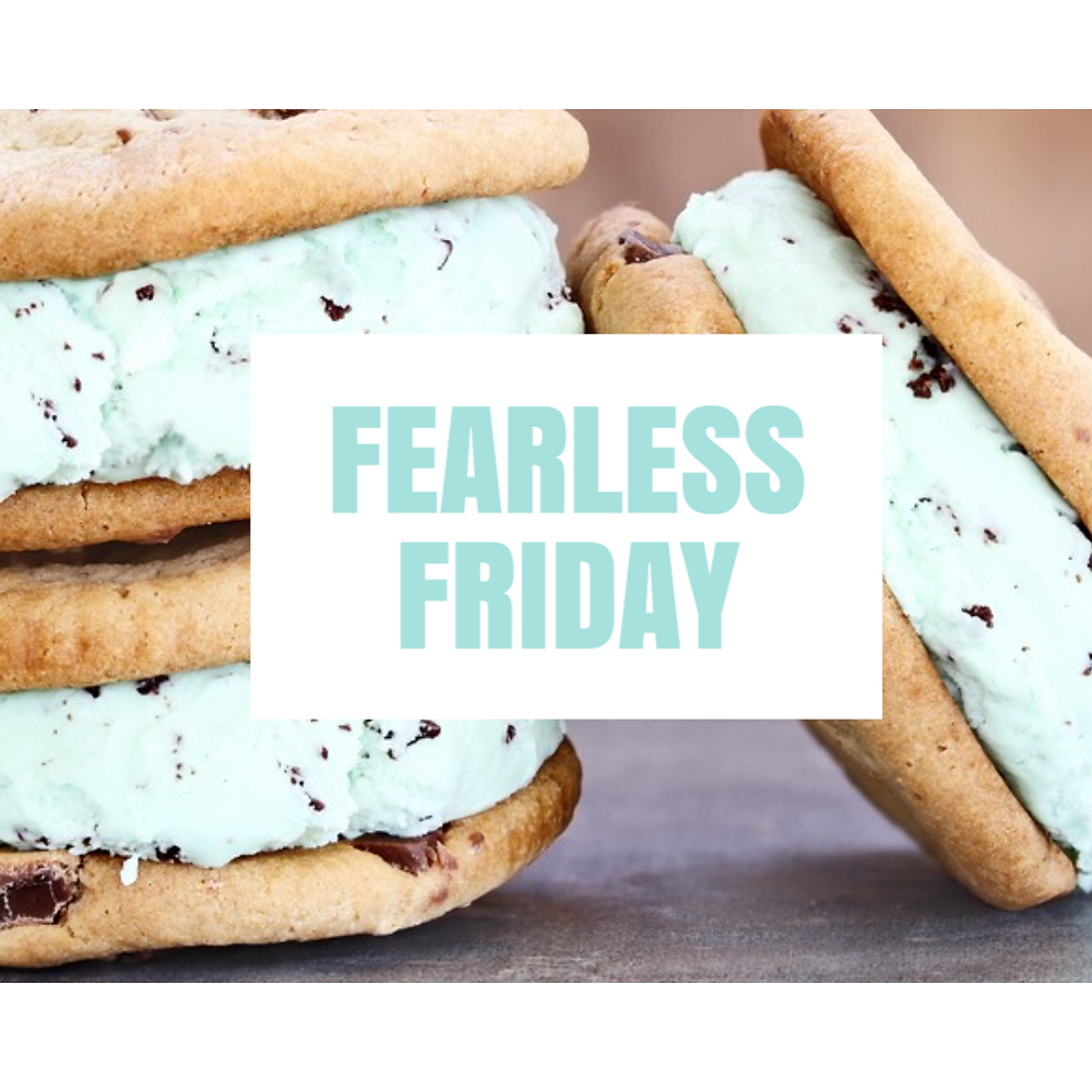 Fearless Friday social media post template with ice cream sandwiches mint ice cream and chocolate chip cookies