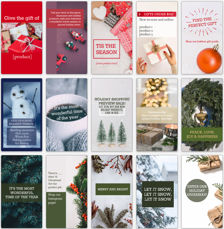 Collection of holiday stories for social media in red and green
