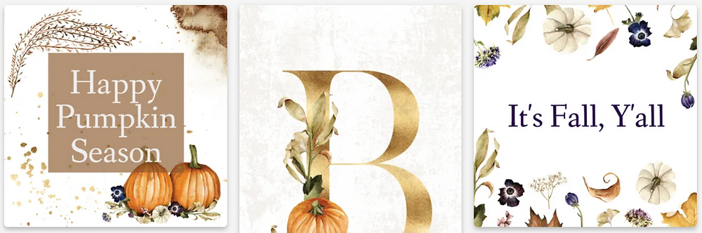 Fall social media marketing templates for Instagram and Facebook with autumn leaves and brown, orange, and gold lettering