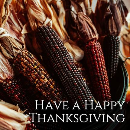Thanksgiving social media post template with festive seasonal fall decorative Indian corn