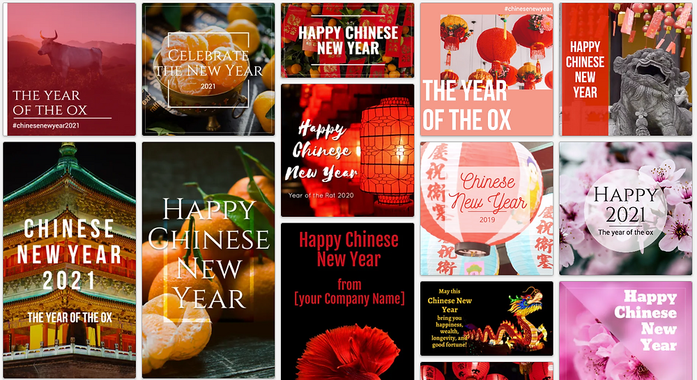 Chinese New Year social media post templates for Instagram, Facebook, Twitter, and more. Red, black, orange, and pink social media post templates.