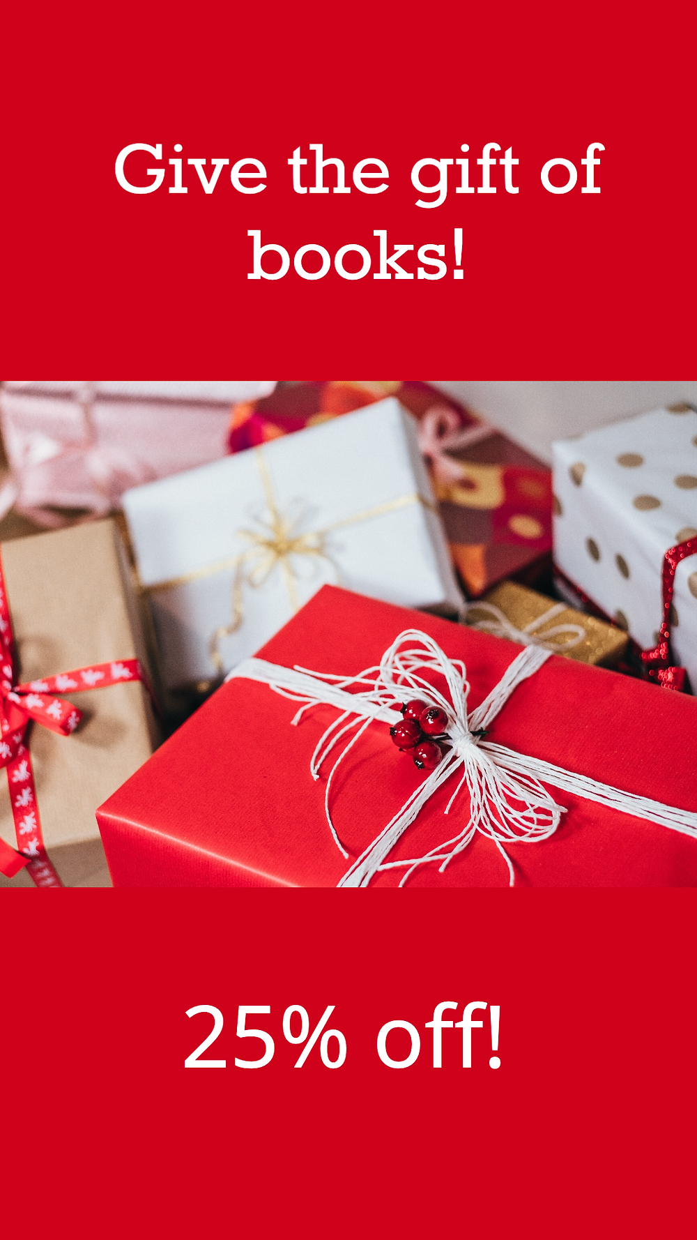 Red holiday social media story template with wrapped Christmas gifts