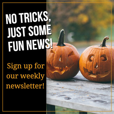 Cute carved pumpkin Halloween post for social media with smiling jack o lanterns with orange and black
