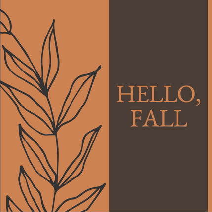 Hello Fall social media post template with brown and orange backgrounds and autumn leaf detail