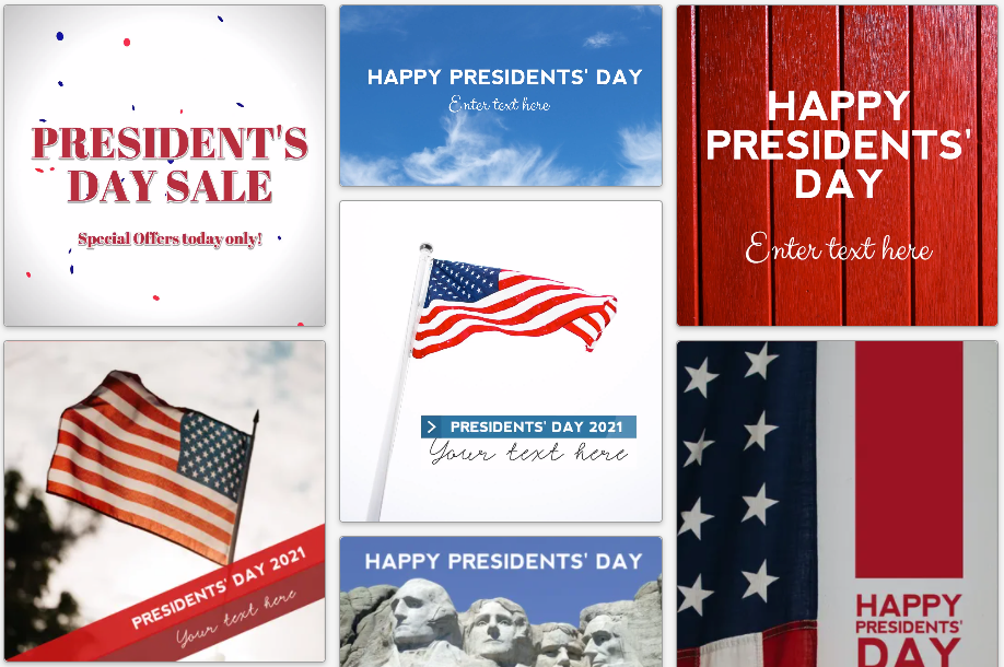 President's Day social media posts in red, white, and blue with American flags