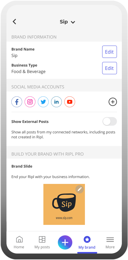 Inside the Ripl app in the brand settings for a small coffee brand