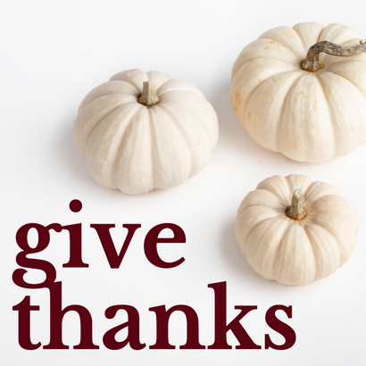 Give thanks Thanksgiving post template with white pumpkins and maroon text