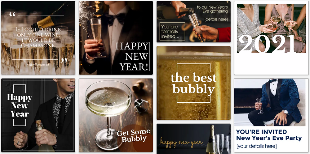 Champagne themed New Year's social media post templates