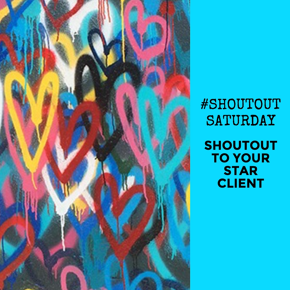 Shoutout Saturday social media post template in blue with multicolored spray painted hearts