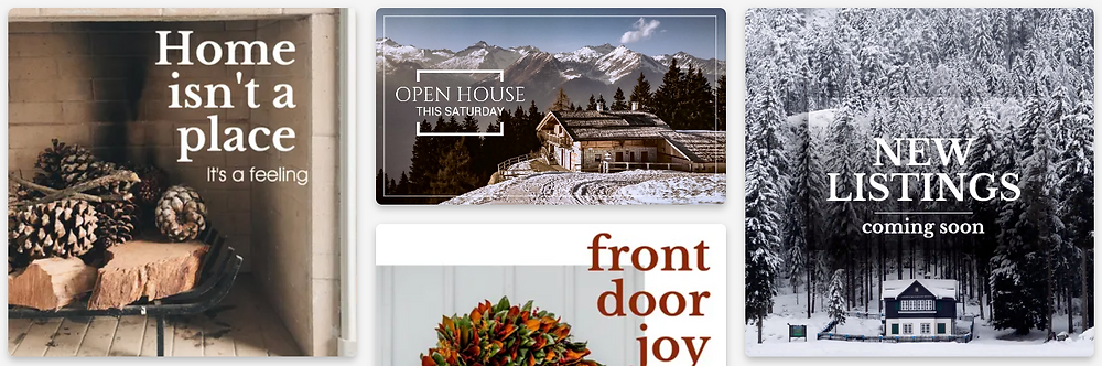Snowy wintry social media post templates for real estate and home professionals