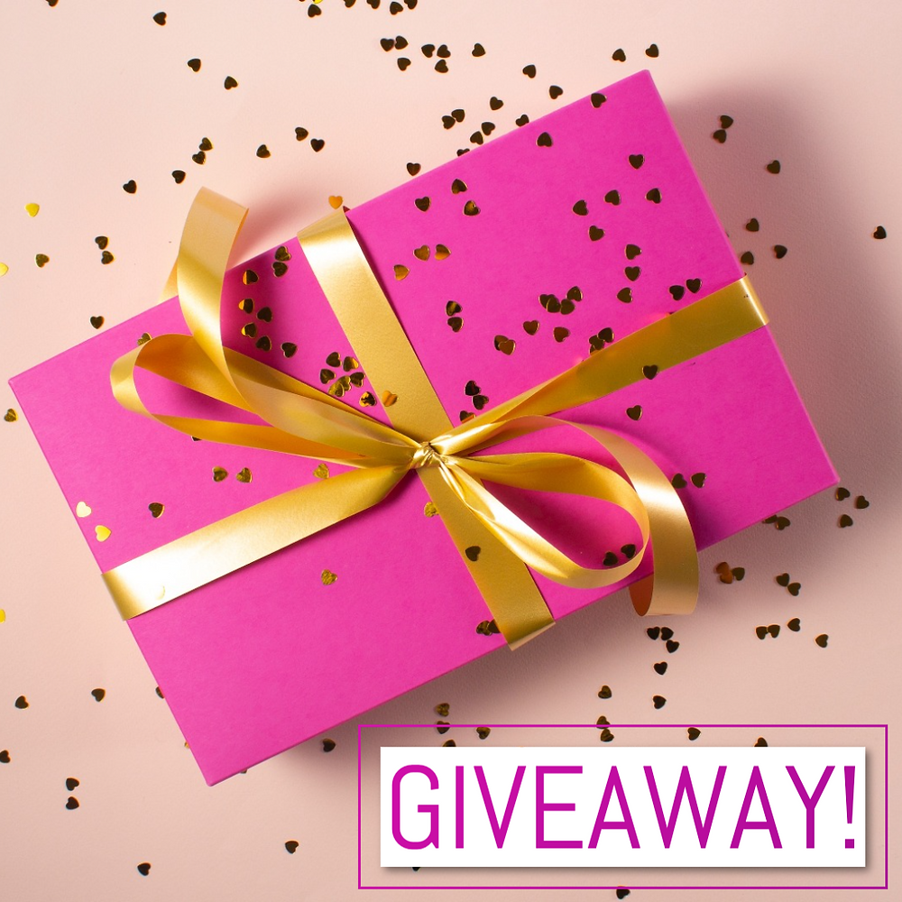 Social media post template for social media giveaway with pink present and gold heart confetti and gold ribbon