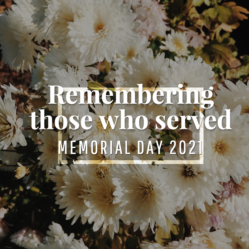 Memorial Day remembrance social media post with white flowers