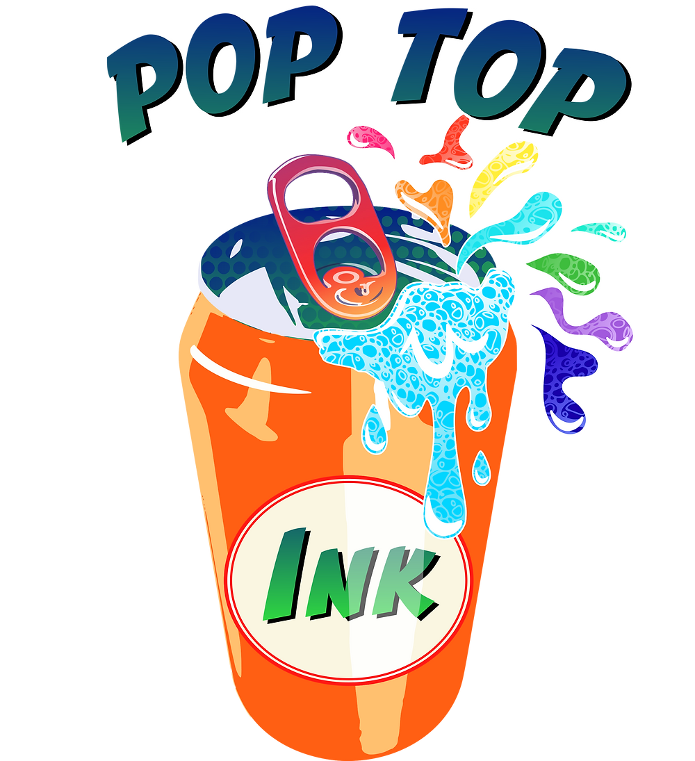 Pop Top Ink company logo, a small business that sells printed products using dye sublimation
