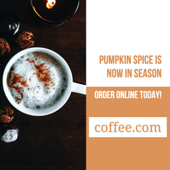 Pumpkin spice Fall and Autumn social media post template for restaurants and coffee shops
