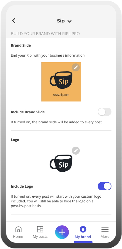 Inside the Ripl social media app under brand settings where you can edit your brand slide and business logo