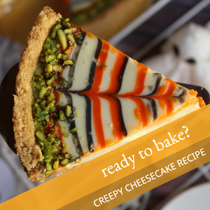 Halloween orange and black cheesecake baking post template for social media