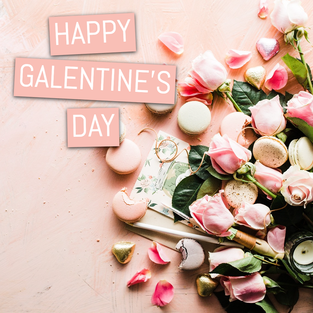 Galentines Day social media post template pink with roses and macarons.