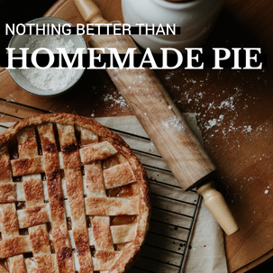 Homemade pie Thanksgiving and Fall social media post template with freshly baked pie, rolling pin, and flour for bakeries and restaurants