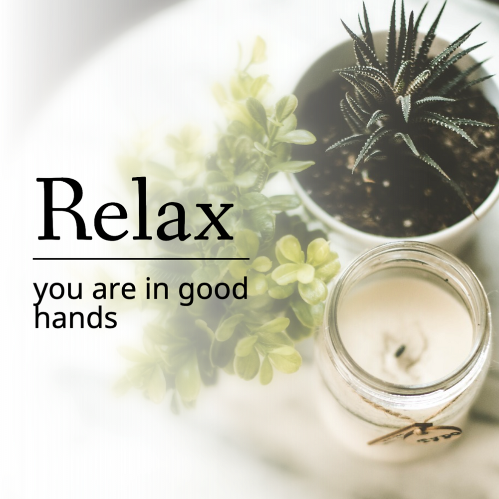 Relax you're in good hands relaxing relaxations social media post template with plants and candle