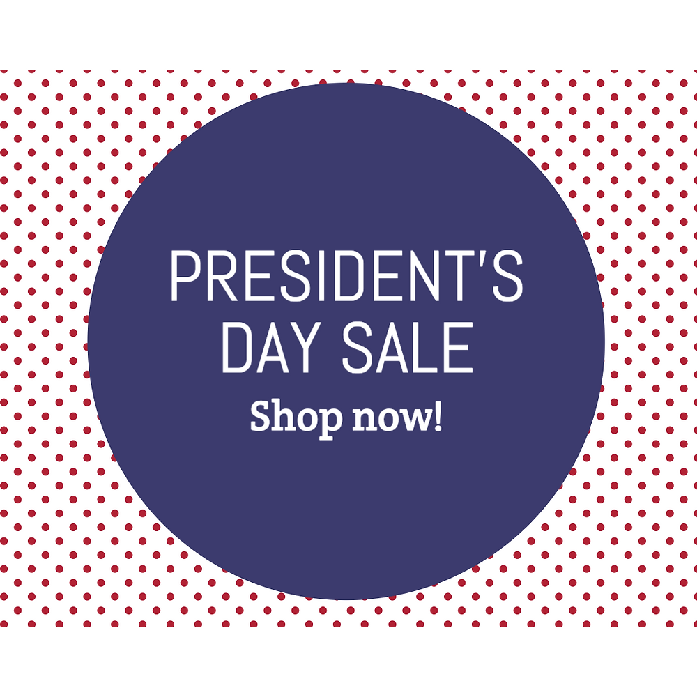 President's Day sale social media post template with blue and red dots