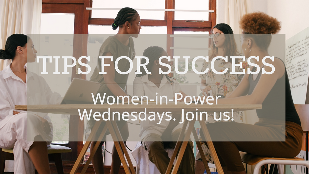 Tips for success women owned business social media post template with a variety of women entrepreneurs around a table having a meeting