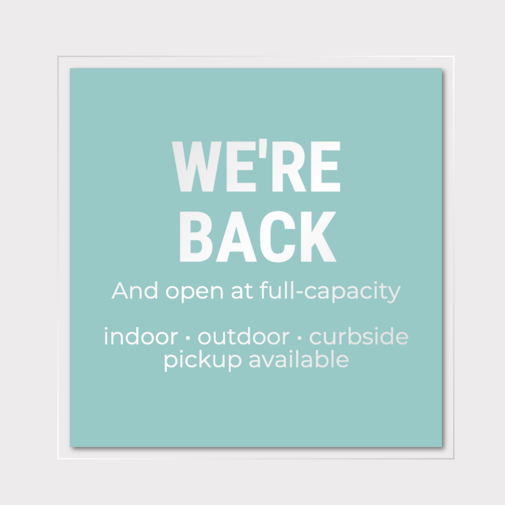 We're back social media post template for small business reopening after Coronavirus