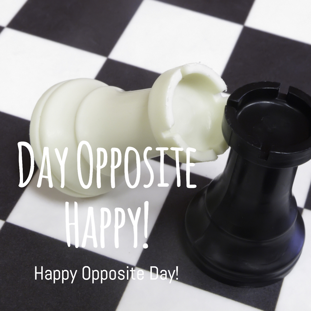 Opposite day social media post template with black and white chess pieces