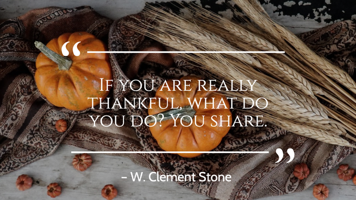 Fall and Thanksgiving quote post template with pumpkins and wheat for social media