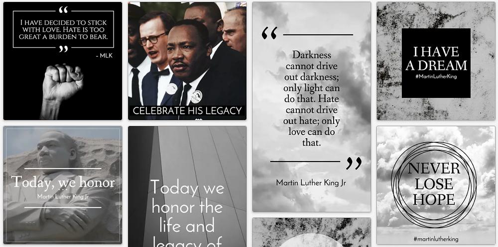 Martin Luther King Jr. Day MLK Day social media posts