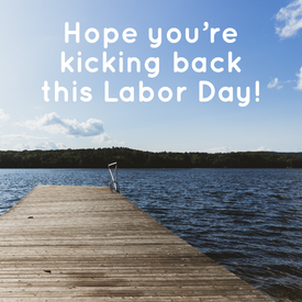 Labor Day social media template at the lake
