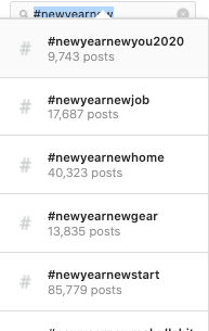 Instagram hashtag search for #newyearnew