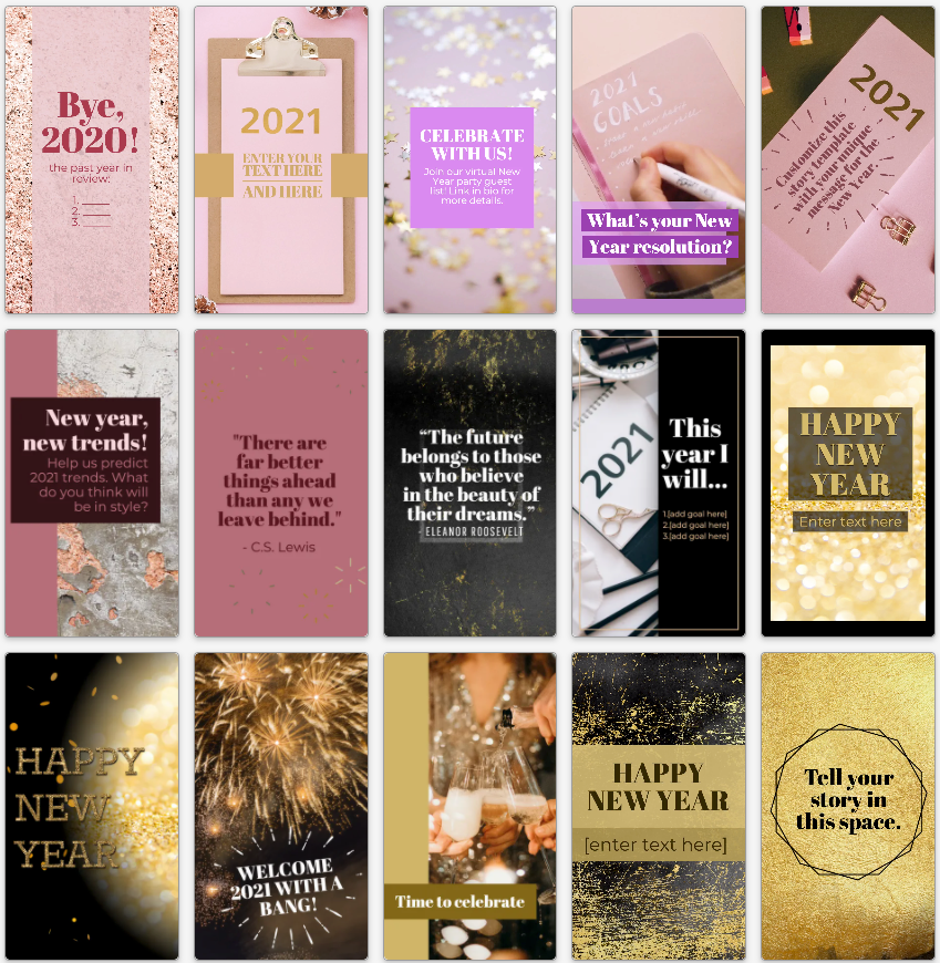 New year's social media story templates in rose gold, glitter gold, and black