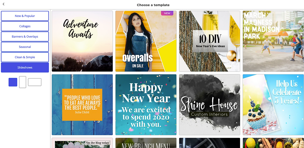 The social media post template library in the Ripl tool, including popular templates, clean & simple templates, slideshows, and more