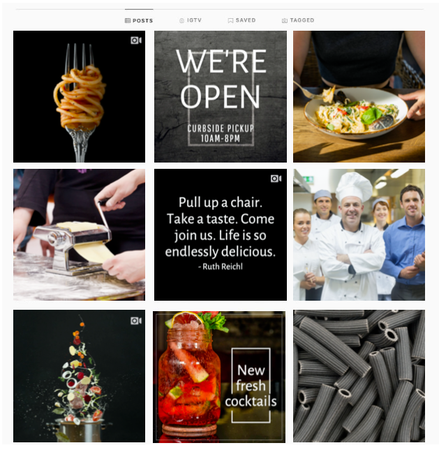 An example of a diversified Instagram profile feed for a restaurant with dark brand colors and a good mix of social media content types