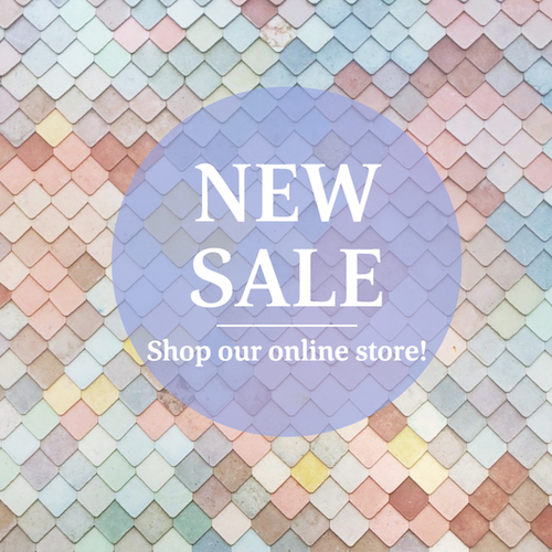 New sale social media post template with colorful paint chips