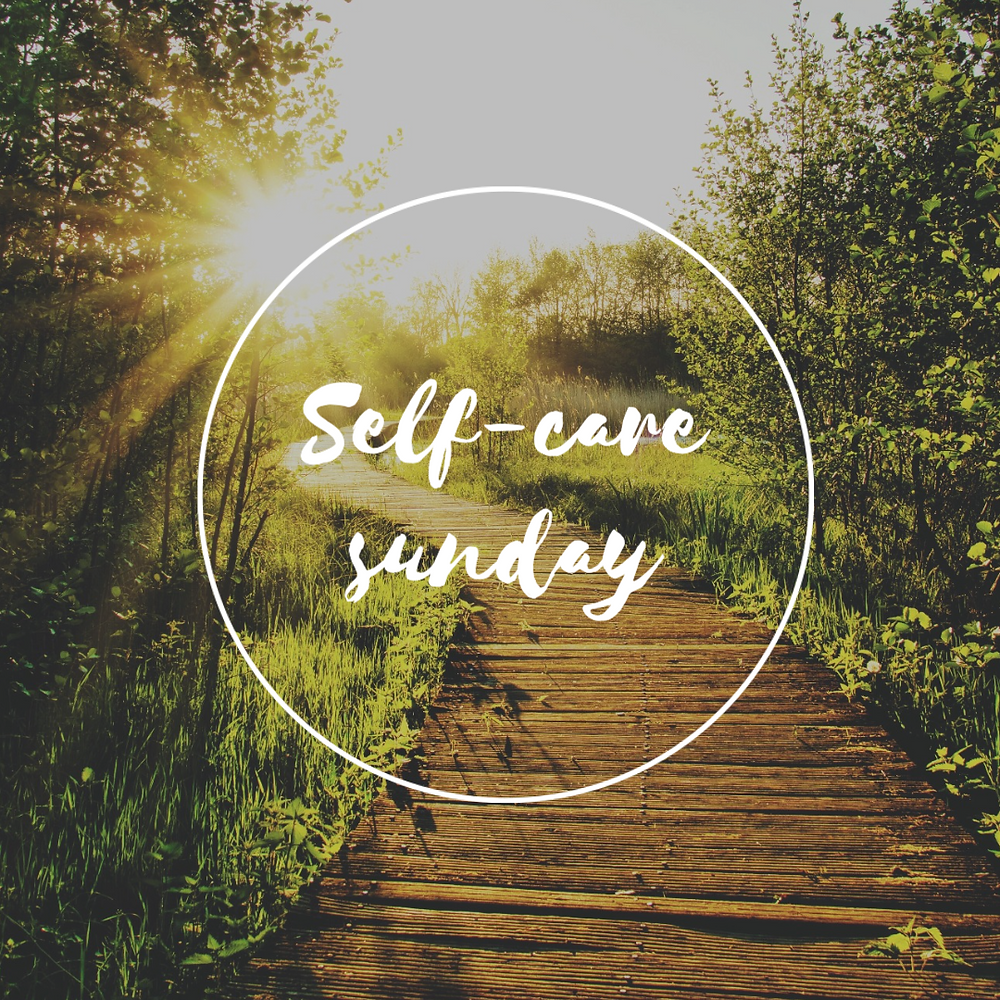 Self care Sunday social media post template with sunshine and nature