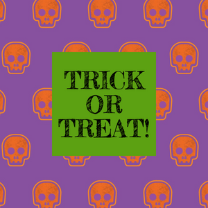 Orange, purple, and green Halloween trick or treat social media post template with skulls